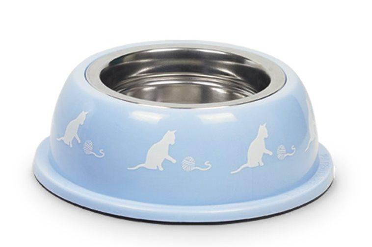 Nobby nerez miska pro kočky v modrém plastovém obalu 250ml 17cm