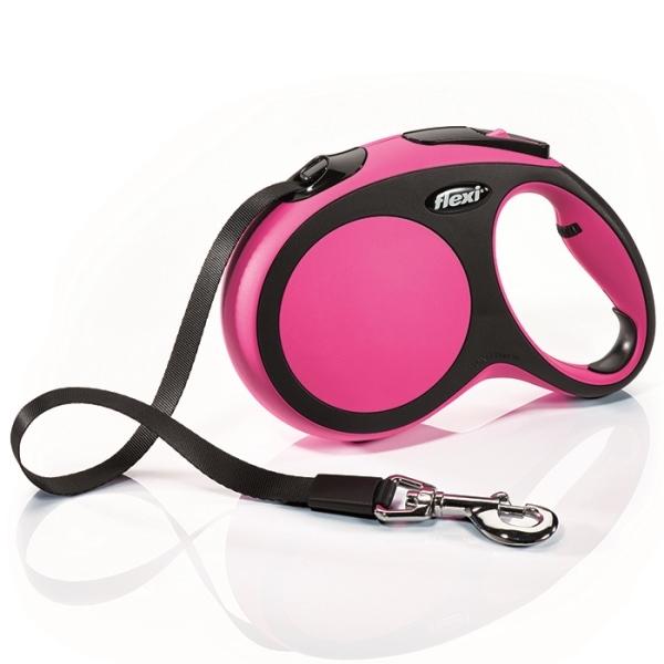 Flexi New Comfort L vodítko pásek 5m/60kg růžová