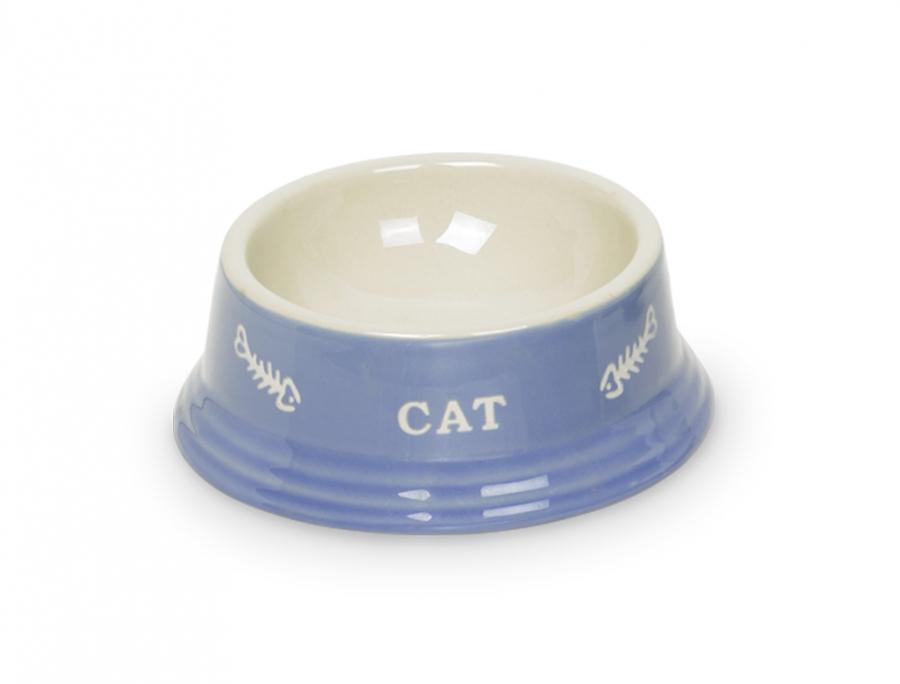 Nobby Cat keramická miska 14 x 4,8 cm modrá
