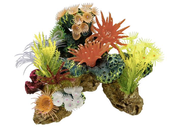 Nobby korálový kámen s rostlinami, dekorace do akvária