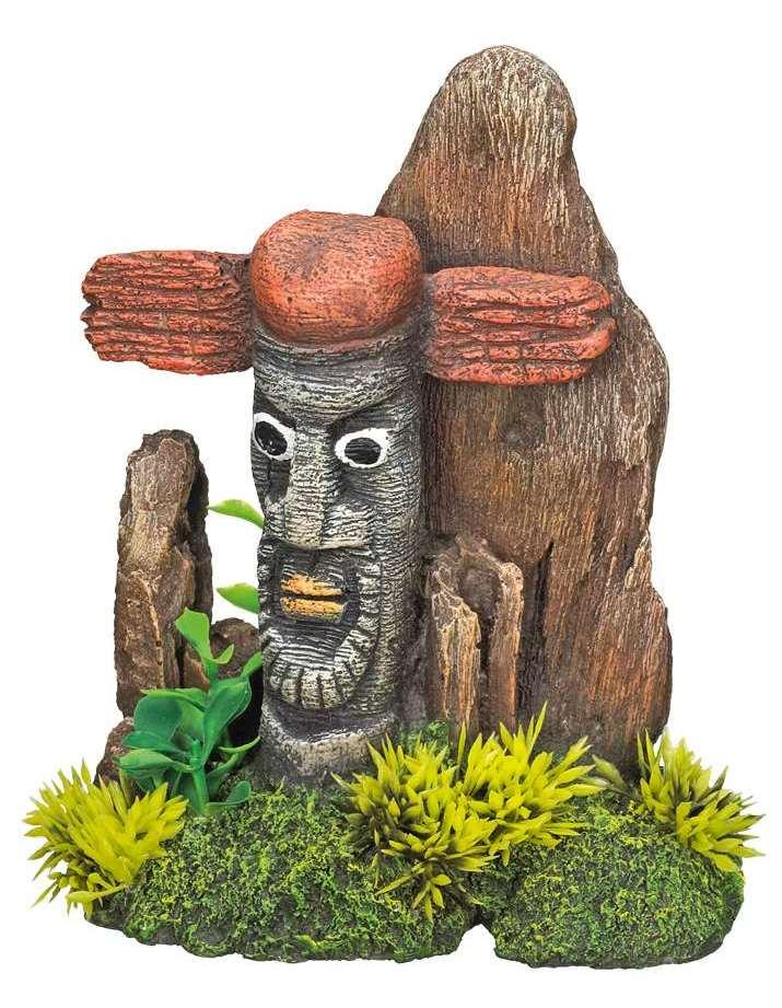 Nobby akvarijní dekorace totem s rostlinami 15x9,5x18cm