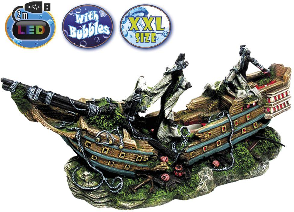 Nobby akvarijní dekorace loď s LED 44,5 x 16 x 20 cm
