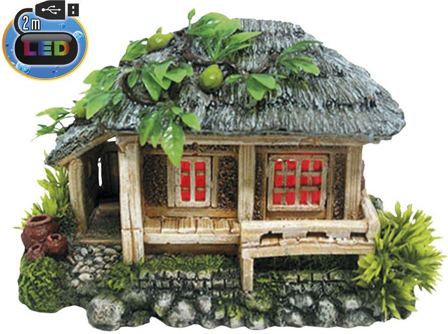 Nobby akvarijní dekorace dřevěný dům s LED 19 x 12,5 x 12cm