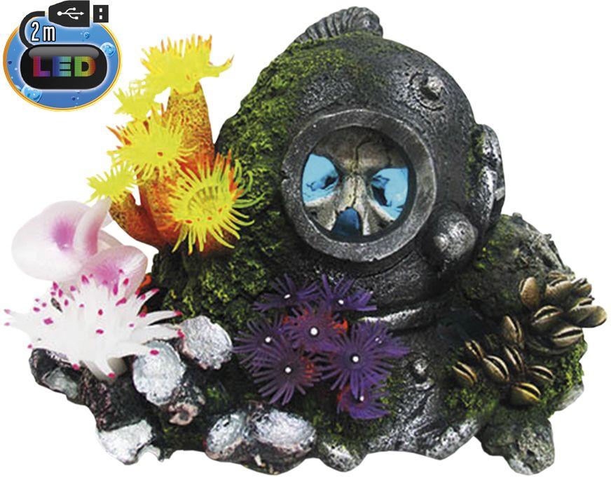 Nobby akvarijní dekorace Helma s lebkou s LED 22,7 x 16 x 14,5 cm