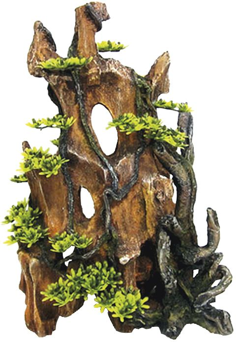 Nobby akvarijní dekorace kmen s rostlinou 25,5 x 14 x 34,5 cm