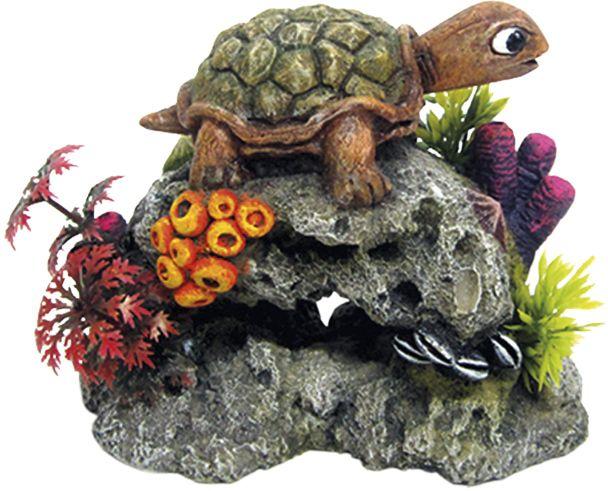 Nobby akvarijní dekorace želva na skále 13,5 x 8,5 x 10,7 cm