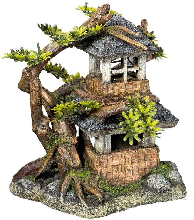 Nobby akvarijní dekorace dům s bonsají 17,5 x 15,5 x 19,8 cm