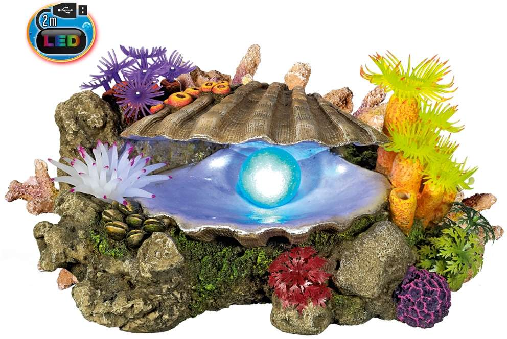 Nobby akvarijní dekorace mušle s LED 21,3 x 14,7 x 10,7 cm
