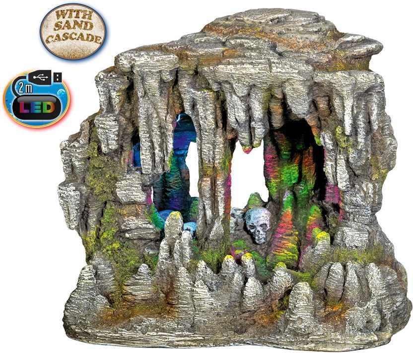 Nobby akvarijní dekorace jeskyně s LED a pískovou kaskádou 22,5 x 14,7 x 21 cm