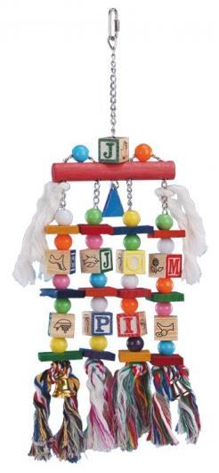 Nobby závěsná hračka pro velké papoušky kostičky 50x15cm