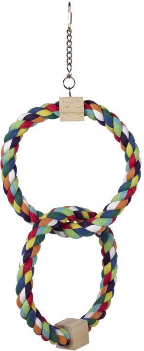 Nobby hračka pro malé papoušky bavlněnné 2 kruhy 42x18cm