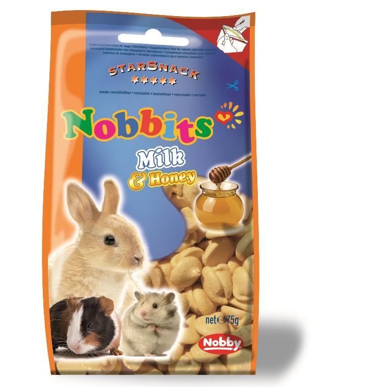 Nobby StarSnack Nobbits pamlsky pro hlodavce mléko a med 75g