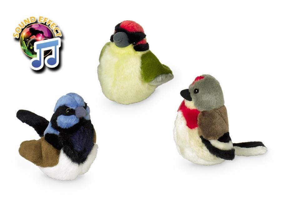 Nobby Bird plyšový zpívající ptáček 17cm 1ks