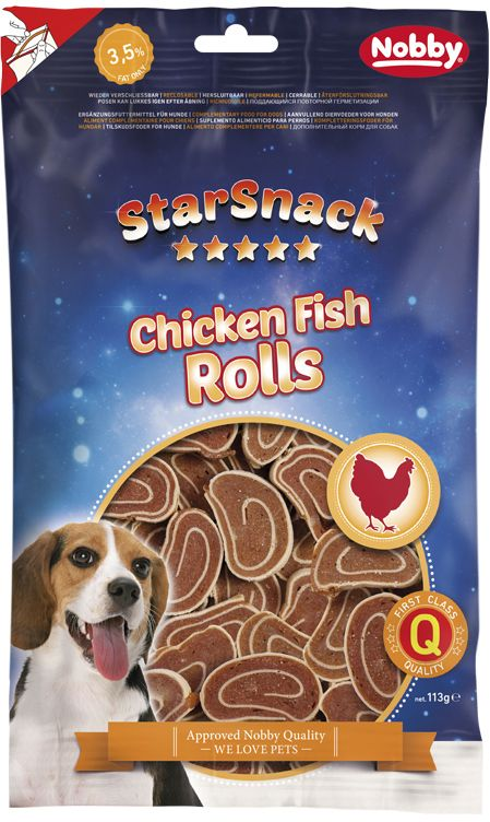 Nobby StarSnack Chicken Fish Rolls pamlsky 113g