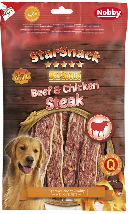 Nobby StarSnack BBQ Beef & Chicken Steak pamlsky 113g