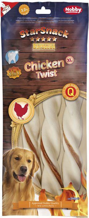 Nobby StarSnack BBQ Chicken Twist žvýkací tyčky XL 25cm 240g