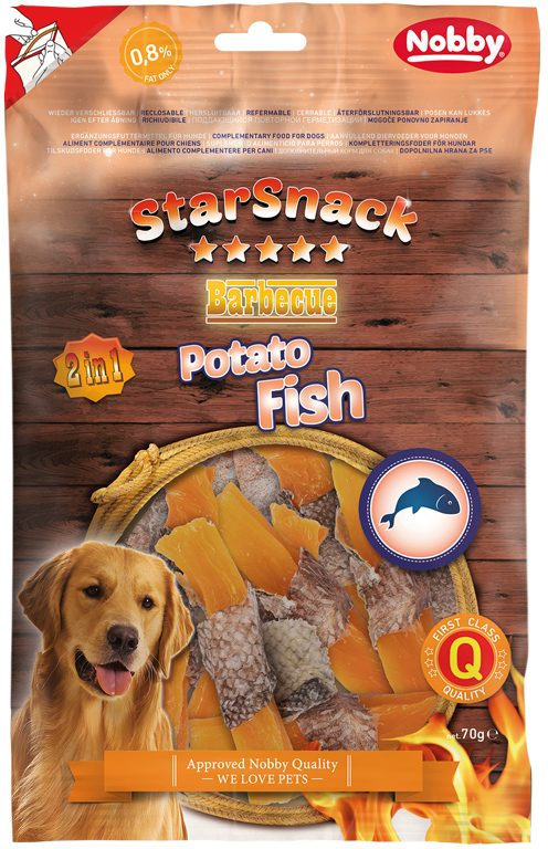 Nobby StarSnack Barbecue Potato Fish pamlsky 70g