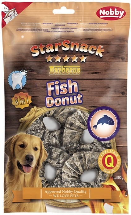Fotografie Nobby StarSnack BBQ Fish Donut pamlsky pro psy 100 g/4 ks