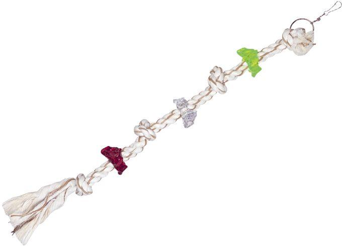 Nobby hračka pro papoušky lano s akrylátovými kroužky 72cm