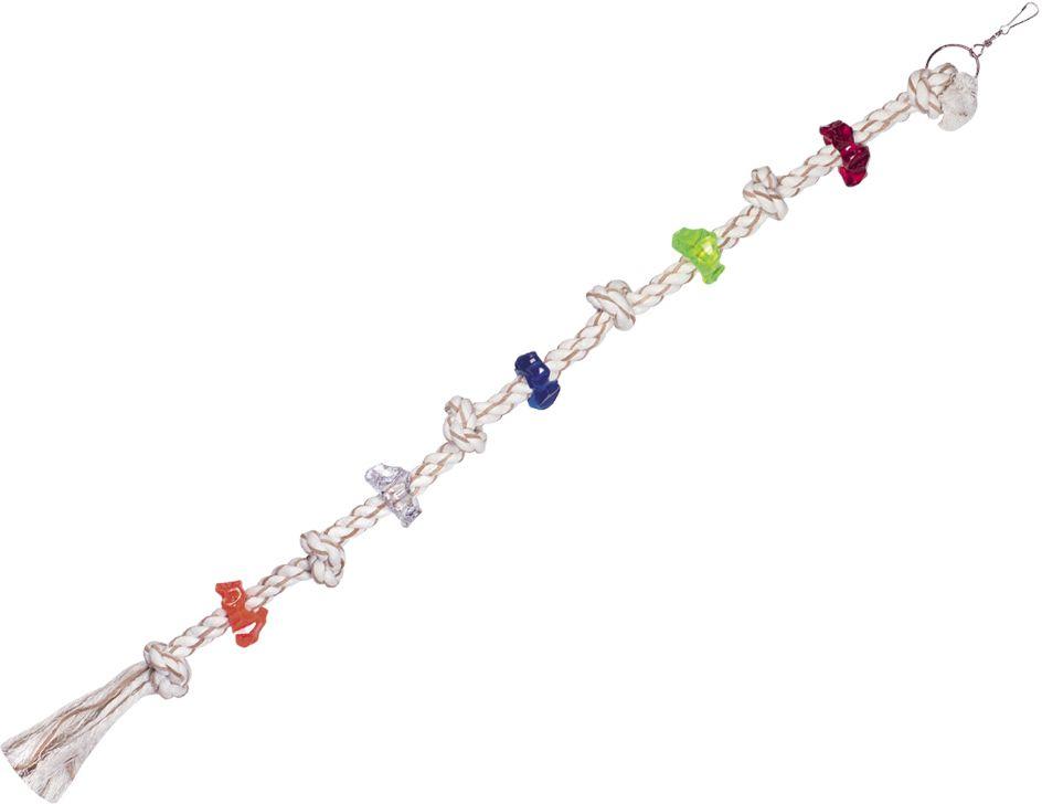 Nobby hračka pro papoušky lano s akrylátovými kroužky 106cm