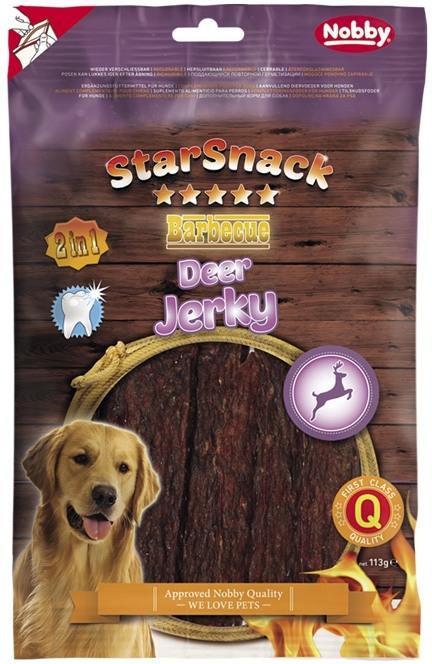 Fotografie Nobby StarSnack BBQ Deer Jerky pamlsky pro psy 113 g