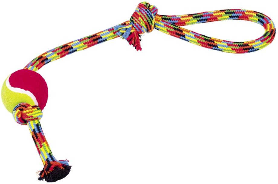 Nobby hračka pro psy lano barevné s tenisákem 98g 47cm