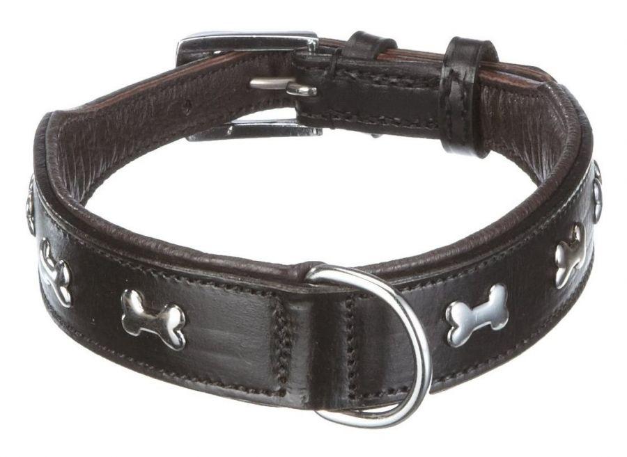 Nobby Cerro kožený obojek s kostičky 40cm černá