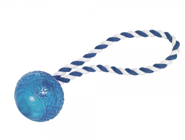 Nobby hračka pro psy TRP míč s lanem modrá 7cm