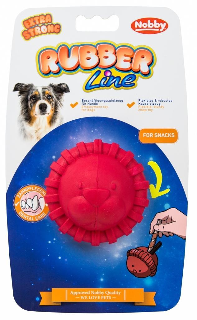 Nobby silná gumová hračka na pamlsky lev 7,5 cm