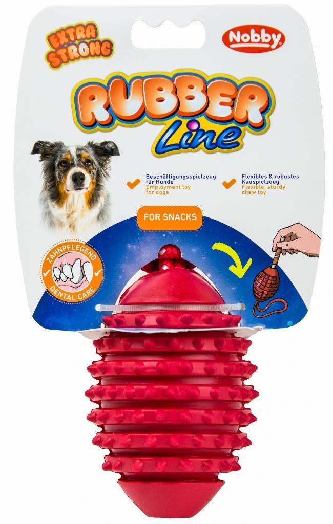 Nobby silná gumová hračka šiška s lanem 39 cm
