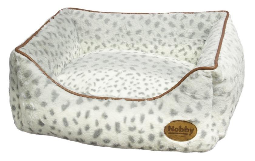 Nobby Alanis plyšový pelíšek leopard šedá 60x48x19cm