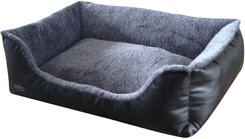 Nobby Cali pelíšek imitace kůže černá 80x60x23cm