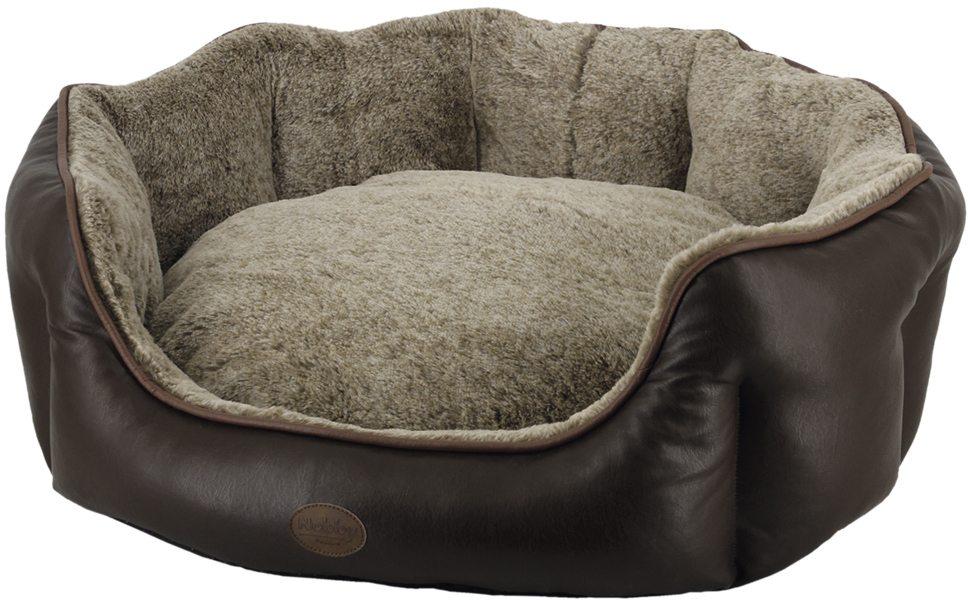 Nobby TARI oválný kožený pelíšek hnědá 45x40x19cm