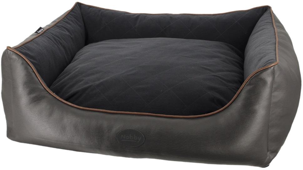 Nobby TEXAS obdelníkový kožený pelíšek tmavě hnědá 80x70x23cm