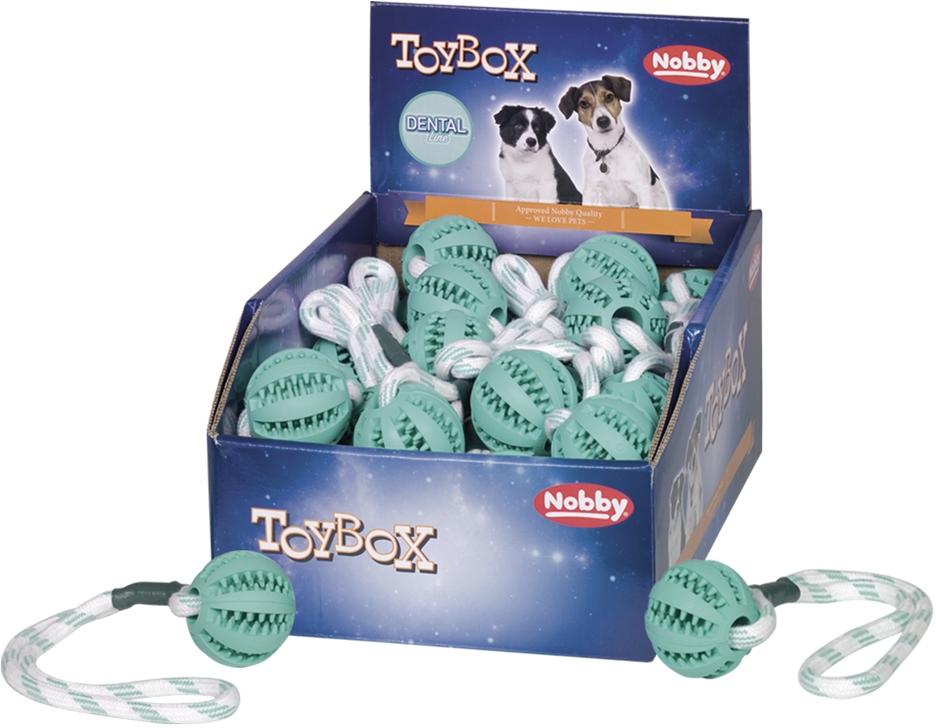Nobby TOYBOX dentální míček s lanem 5cm 32cm