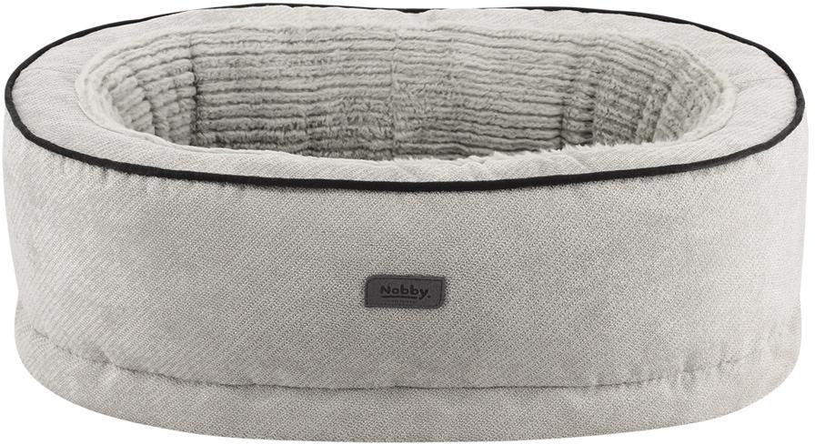 Nobby LAGO ortopedický oválný pelíšek světle šedý 85x60x5/19cm