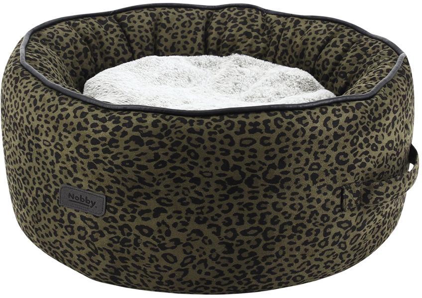 Nobby LEO komfortní oválný pelíšek leopardí hnědá 45x19cm