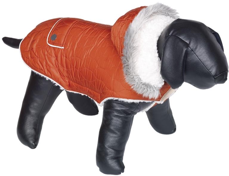Fotografie Nobby prošívaný obleček POLAR pro psa s kapucí a beránkem 40cm terakota