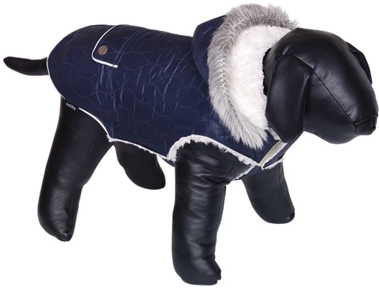 Fotografie Nobby prošívaný obleček POLAR pro psa s kapucí a beránkem 44cm modrá