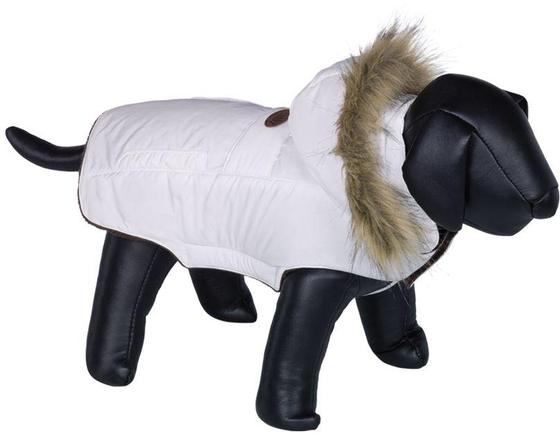 Nobby ELNA bunda pro psa s kožíškem bílá 20cm