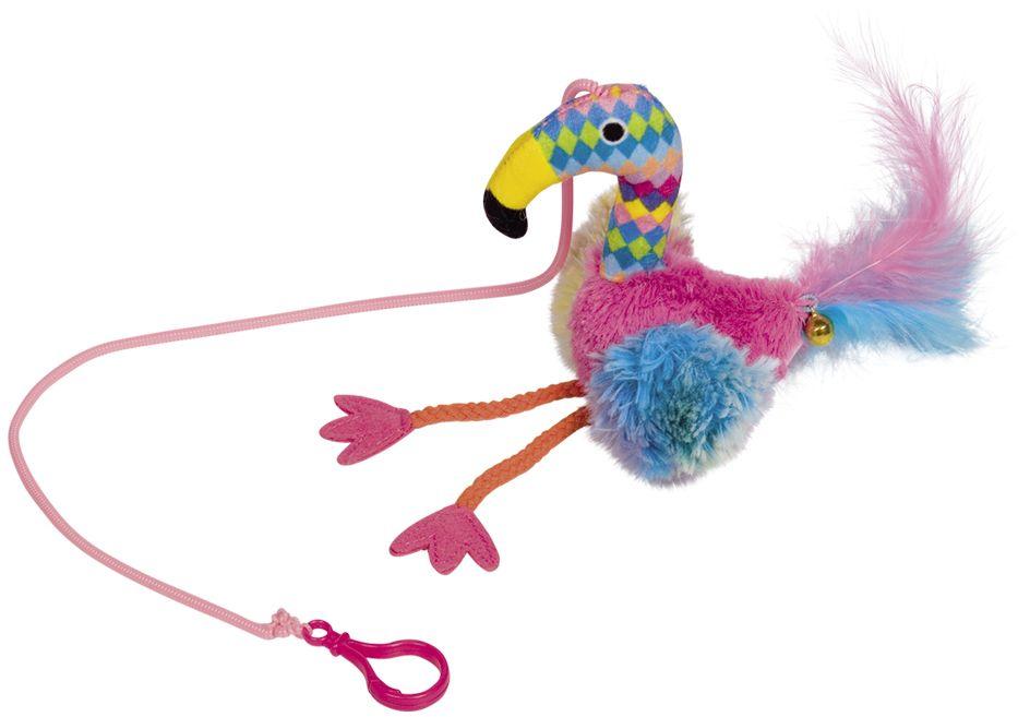 Nobby hračka pro kočky plameňák na gumičce 45x22cm