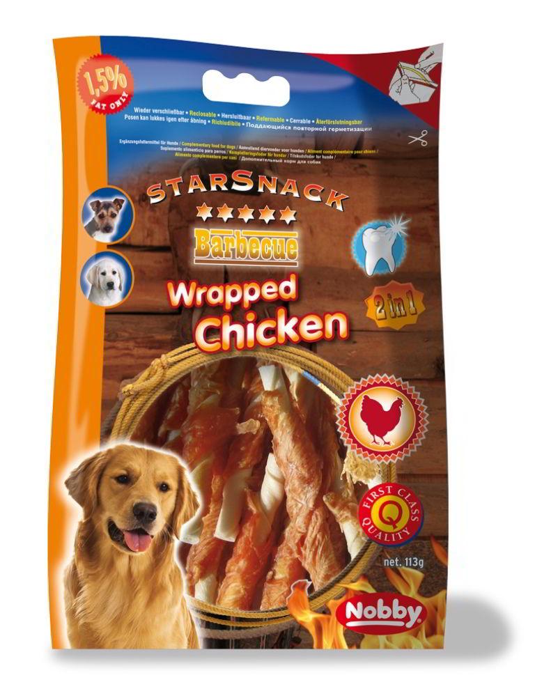 Nobby StarSnack Barbecue Wrapped buvolí tyčinka s kuřetem 113g