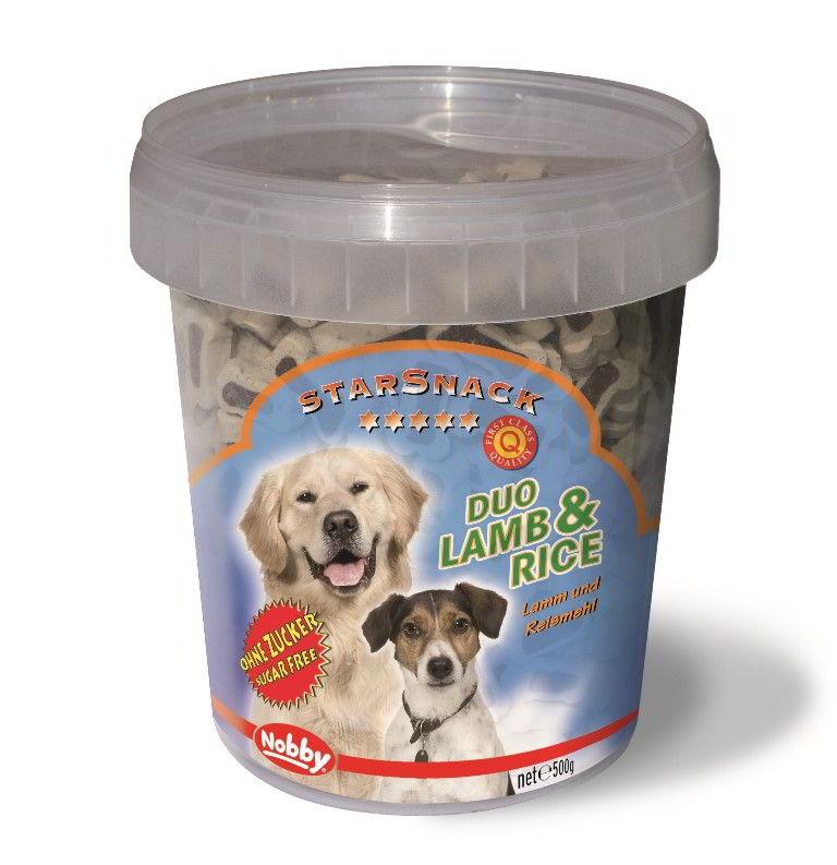 Nobby StarSnack Duo kyblík pamlsky pro psa jehně+rýže 500g