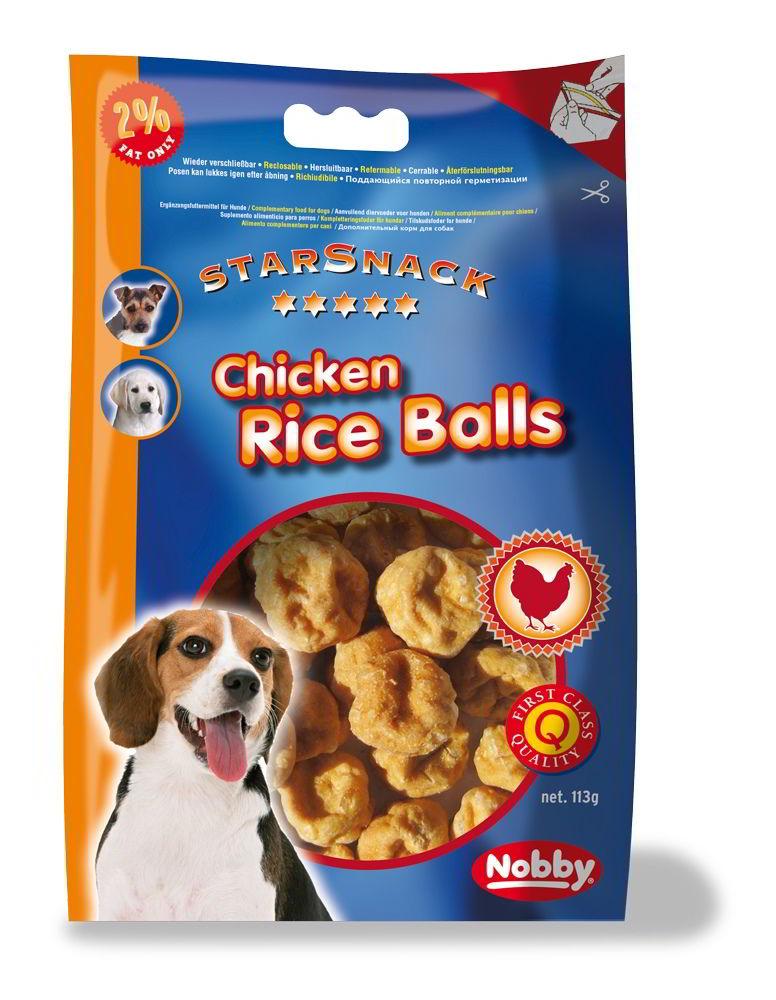 Nobby StarSnack Chicken Rice Balls kuřecí rýžové kuličky 113g