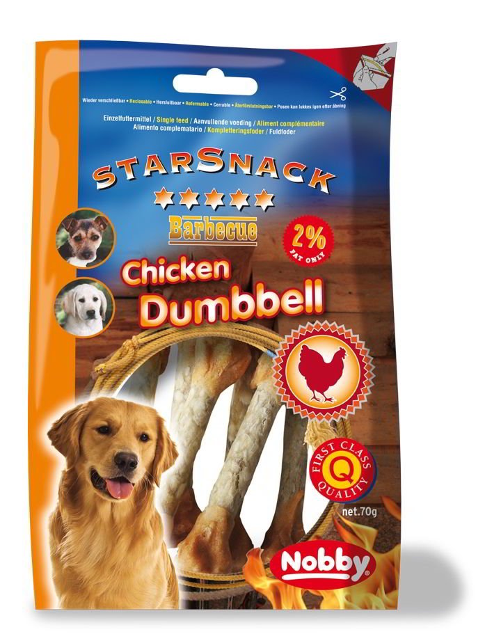Nobby StarSnack Barbecue Chicken Dumbbell pamlsek 70g