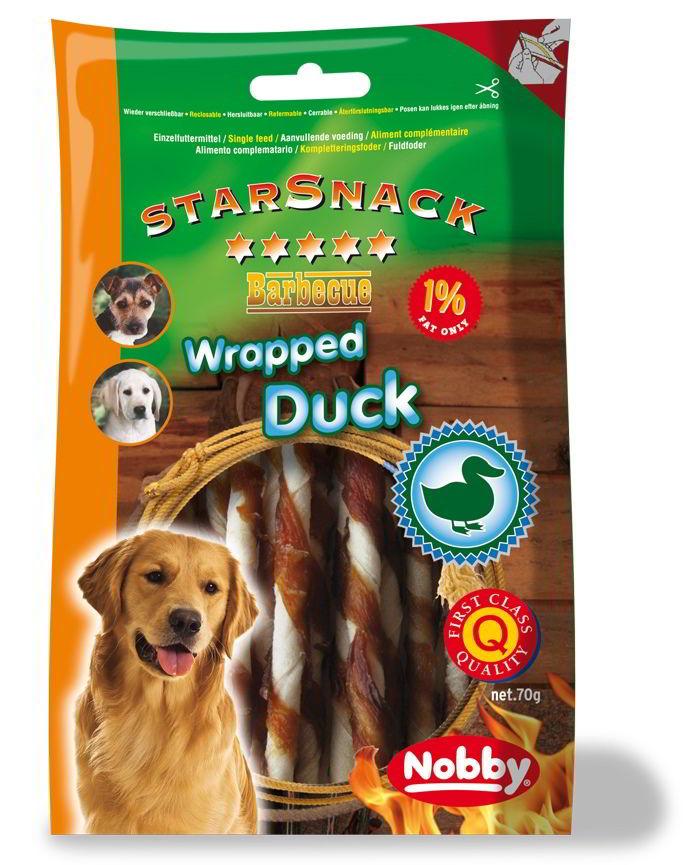 Nobby StarSnack Wrapped Duck bůvolí tyčinka s kachnou 70g