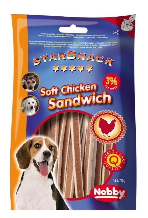 Nobby StarSnack Soft Chicken Sandwich měkké pamlsky kuře+ryba 70g
