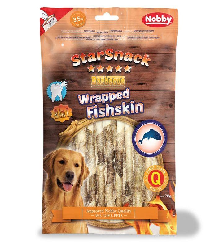 Nobby StarSnack Wrapped Fishskin rybí kůže na tyčince pamlsek 70g