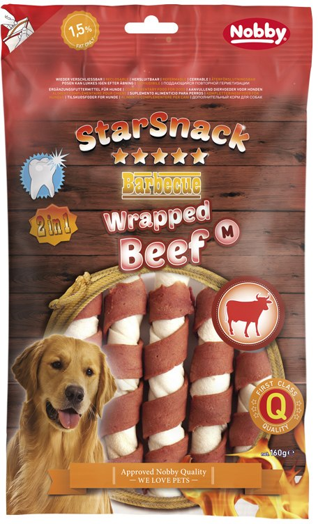 Nobby StarSnack BBQ Wrapped M Beef pamlsky 160g