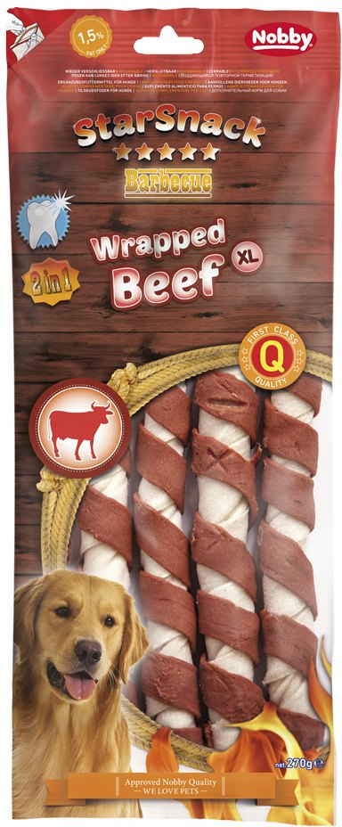Nobby StarSnack BBQ Wrapped XL Beef pamlsky 270g